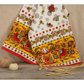 Рушник льняной «Матрёшка», 150 х 36