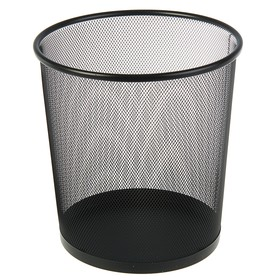 Корзина для бумаг металлическая 13 литров Erich Krause, чёрная, нержавеющая сталь, основание 260 мм, верх 280 мм