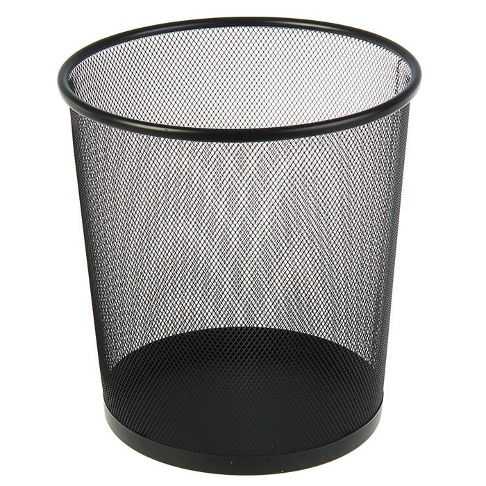 Корзина для бумаг металлическая 13 литров Erich Krause, чёрная, нержавеющая сталь, основание 260мм, верх 280мм