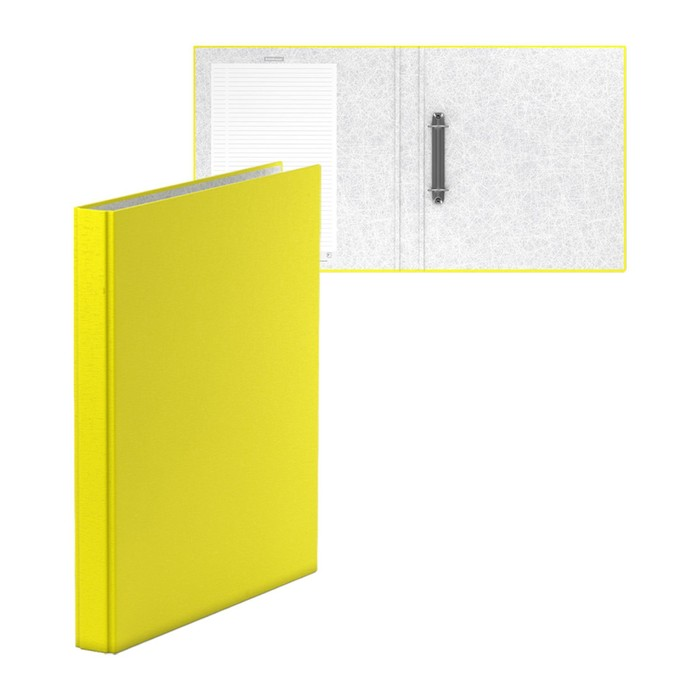 Папка на 2 кольцах А4, 35мм Erich Krause Neon желтая, картон 1,75мм, вместимость 250 листов