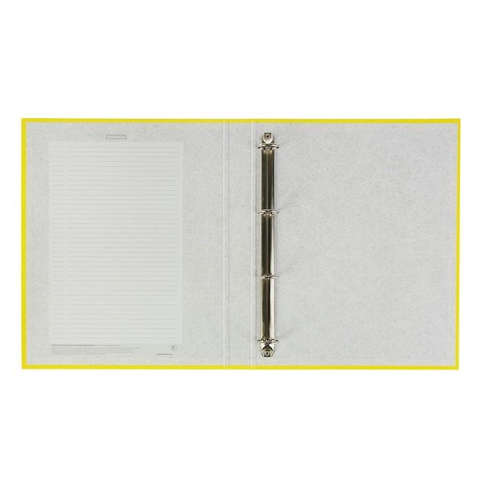 Папка-регистратор на 4 кольцах, А4, 35 мм, Erich Krause Neon, жёлтая, картон 1.75 мм, вместимость 250 листов - фото 448831644