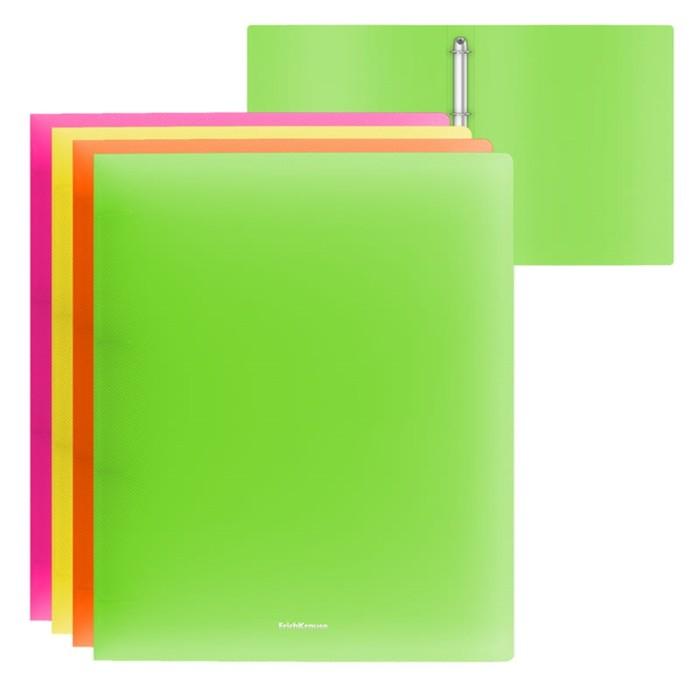 Папка на 4 кольцах А4, 35 мм, Erich Krause NEON, пластиковая, толщина 500 мкм, тиснение - песок, вместимость до 200 листов, микс - фото 440949221