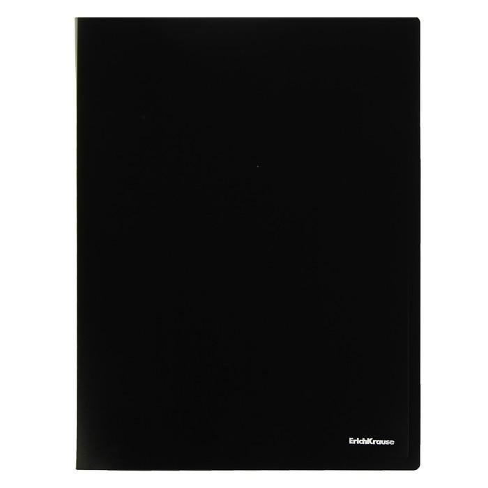 Папка с боковым зажимом A4 Erich Krause CLASSIC, черная, корешок 17мм, толщина 500мкм, вместимость 100 листов
