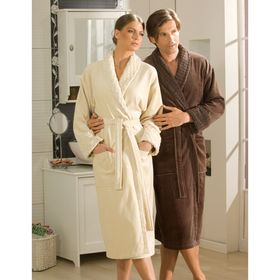Махровый халат Angora, размер L, бежевый