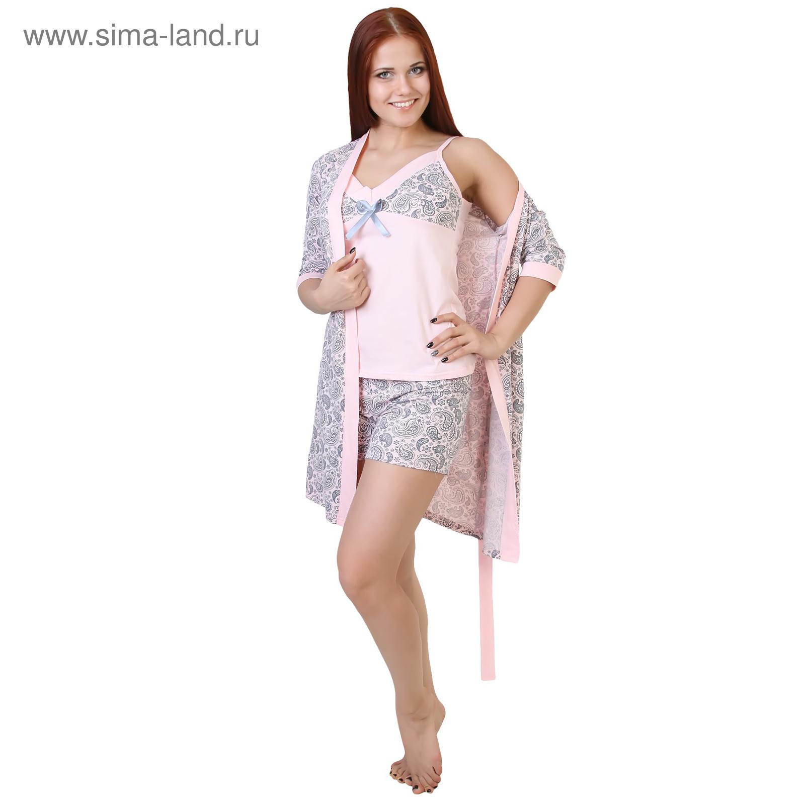 fbe503efa2934 Комплект женский (халат, майка, шорты) Узор цвет розовый, р-р 52 (84 ...