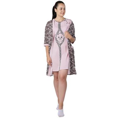"""Комплект женский (халат, сорочка) """"Двойка для кормящих"""" цвет розовый, р-р 48"""
