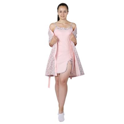 Комплект женский (халат, сорочка) Узор цвет розовый, р-р 44