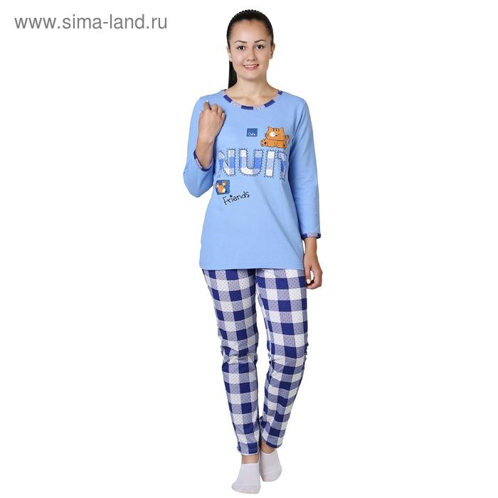 Пижама женская (джемпер, брюки) Кошки-мышки цвет синий, р-р 42