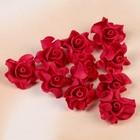 Цветок свадебный из фоамирана ручная работа  D-3,5 см 10 шт ажурный край, цвет красный