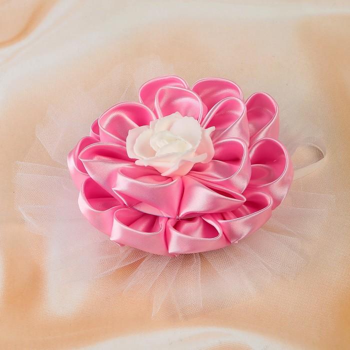 Бант свадебный для декора «Канзаши», D=14 см, круглый с фатином ,1 шт,розовый