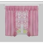 """Комплект штор с подхватами 55692 """"Букет"""": шторы ш 130 х в 180 см - 2 шт, ламбрекен ш 300 х в 50 см, розовый"""