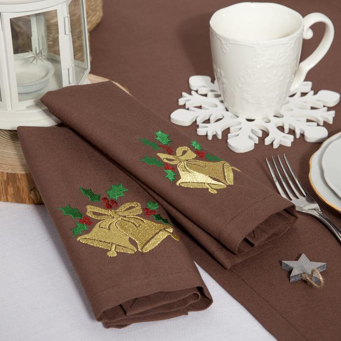 """Набор салфеток """"Этель"""" Новогодние колокольчики, 40х40 цвет шоколад, 2 шт, с ВМГО хл, 200 гр/м²"""