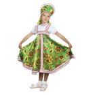 """Русский народный костюм """"Хохлома"""", платье, кокошник, цвет зелёный, р-р 36, рост 140 см"""