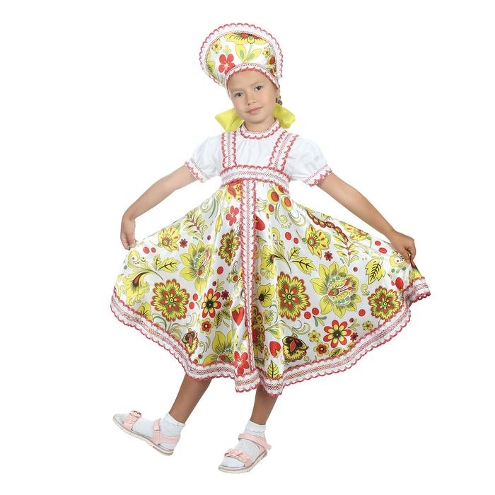 """Русский народный костюм """"Хохлома"""", платье, кокошник, цвет белый, р-р 28, рост 98-104 см"""