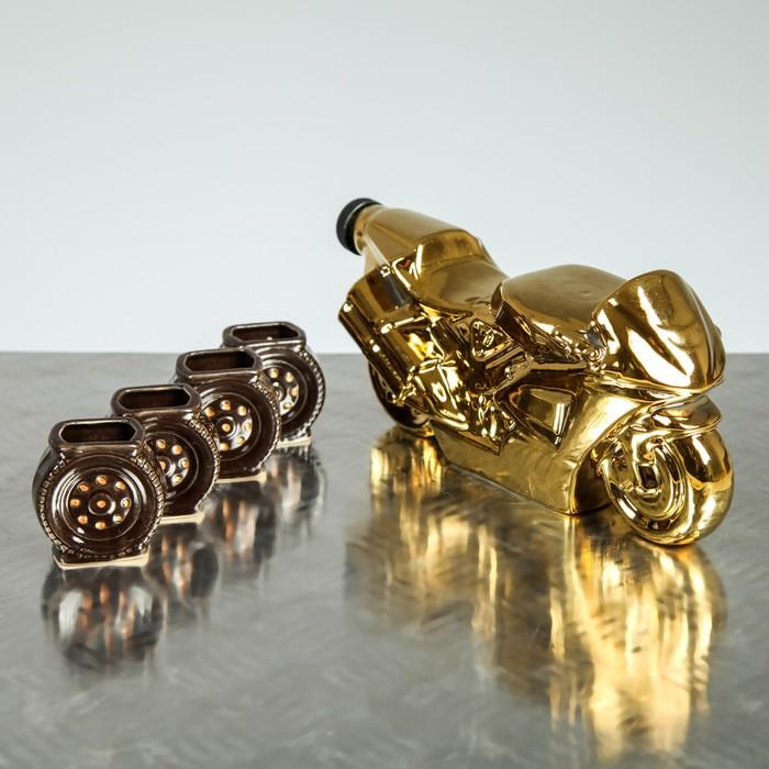 """Коньячный набор """"Байк"""" 5 предметов, 0,7 л, золото"""