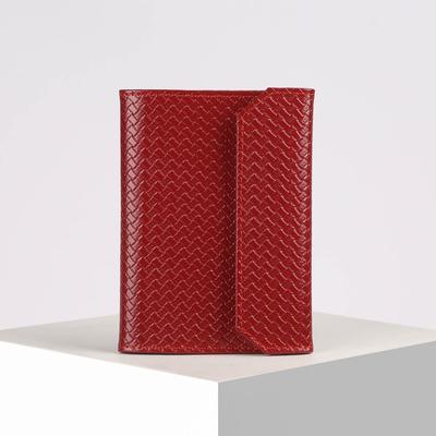 Обложка для документов, плетёнка, цвет красный