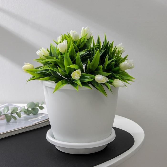"""Горшок с поддоном 2,2 л """"Афина"""", цвет белый - фото 1694261"""