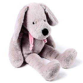 Мягкая игрушка «Собака», цвет серый/розовый, 40 см