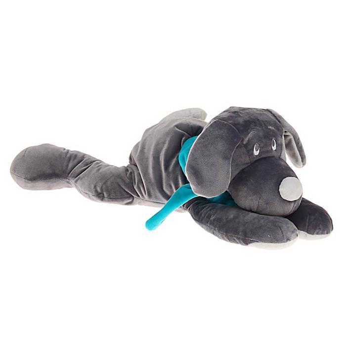 Мягкая игрушка «Собака», цвет серый/бирюзовый, 45 см - фото 105612334