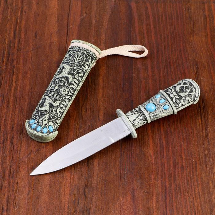 Нож под кость резной с цв. камнями, металл, пластик, 20см - фото 8875043