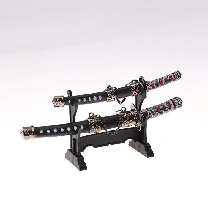 Сув. изделие катаны-мини 2в1 на подставке, ножны черные с белыми ромбами 16/20см микс - фото 8875887