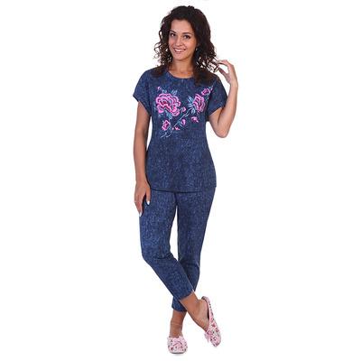 Комплект женский (футболка, бриджи) Салли цвет джинс, р-р 56