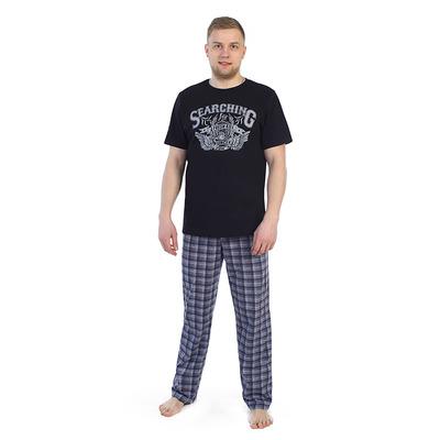 Комплект мужской (футболка, брюки) 945а цвет сине-серый, р-р 52