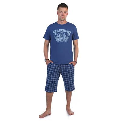 Комплект мужской (футболка, шорты) 886 цвет индиго, р-р 52