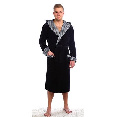 Халат мужской запашной с капюшоном 532 цвет тёмно-серый, р-р 52
