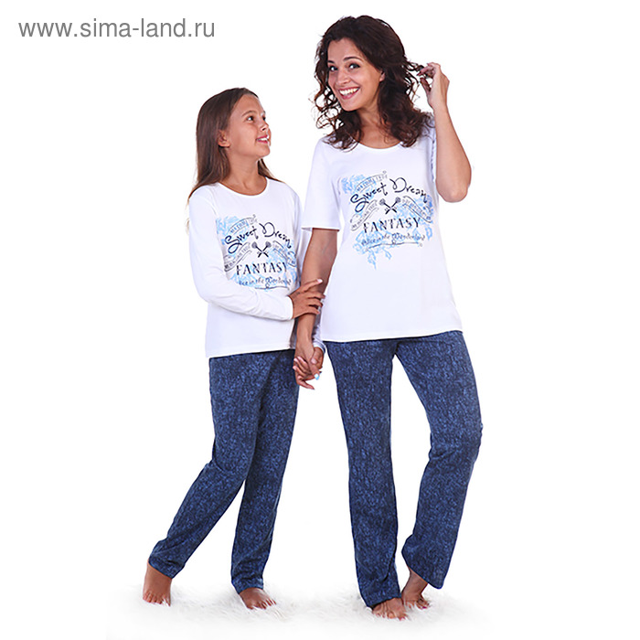 Пижама женская (футболка, брюки) Джилс цвет джинс, р-р 44