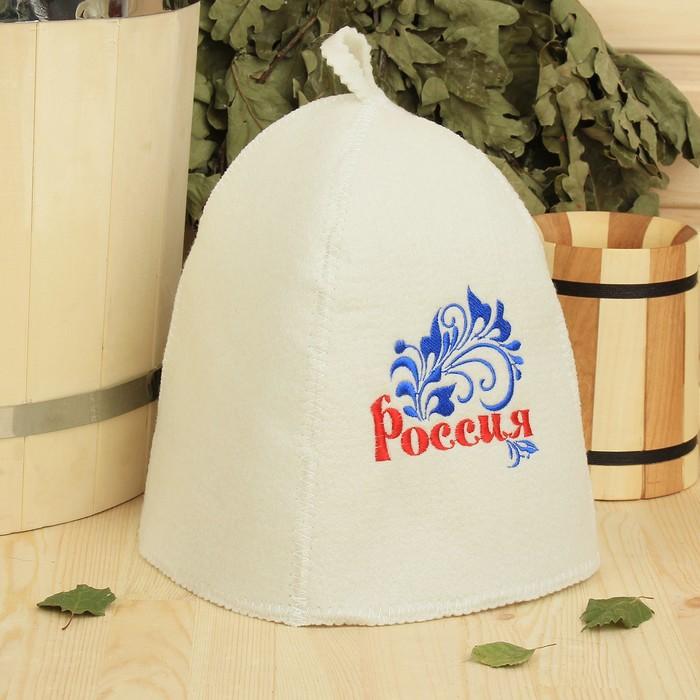 """Банная шапка с вышивкой  """"Россия"""", красная надпись, первый сорт"""