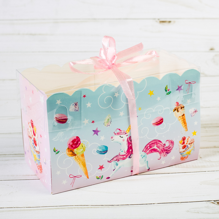 Коробка для капкейка «Побалуй себя» 8 х 16 х 10 см