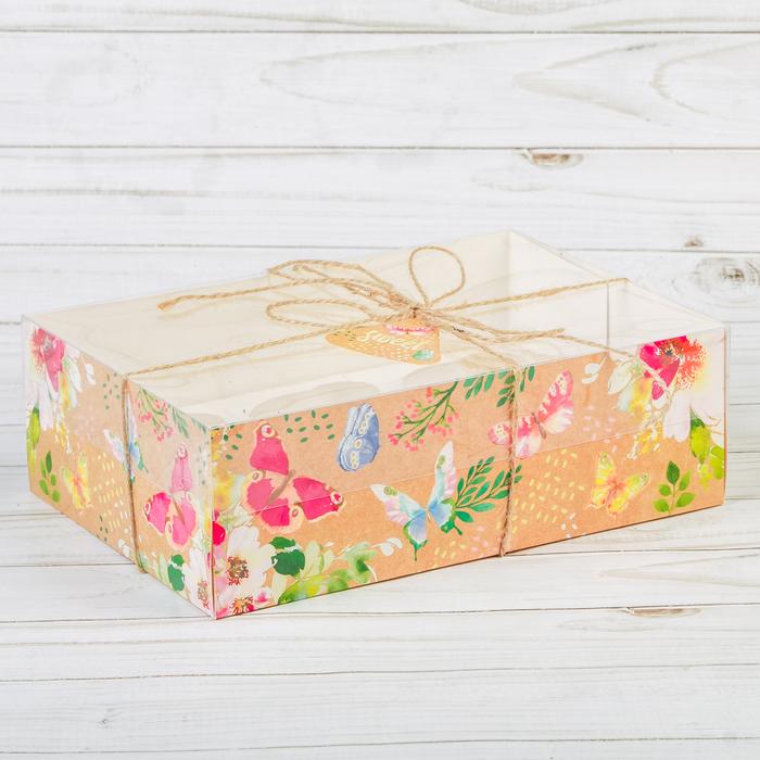 Коробка для капкейка с PVC-крышкой «Бабочки», 16 × 23 × 7,5 см