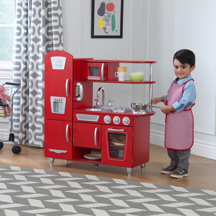 Детская кухня из дерева «Винтаж», цвет красный