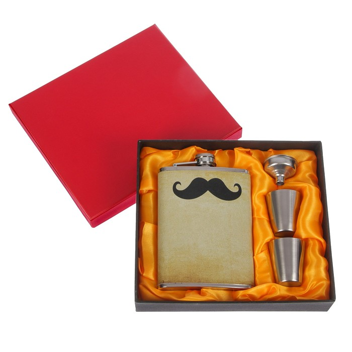 Подарочный набор 4 в 1: фляжка 240 мл, вставка чёрные усы, 2 рюмки, воронка, 17х19 см