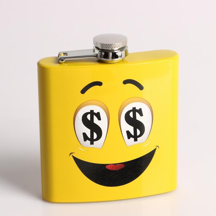 Фляжка 180 мл «Рожица с долларами», жёлтая, 9х11 см