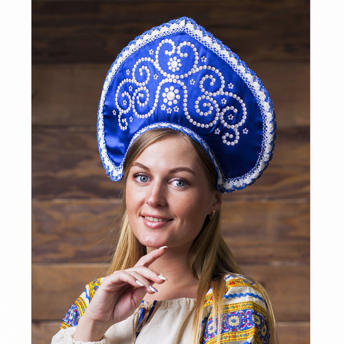 Кокошник «Жемчуг», атлас, цвет синий