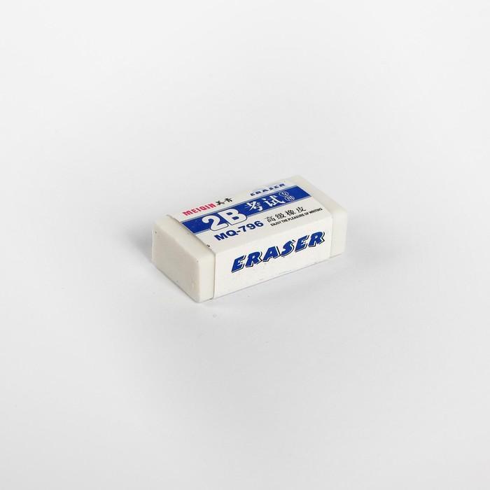 Ластик прямоугольный 2В белый малый в бумажном держателе