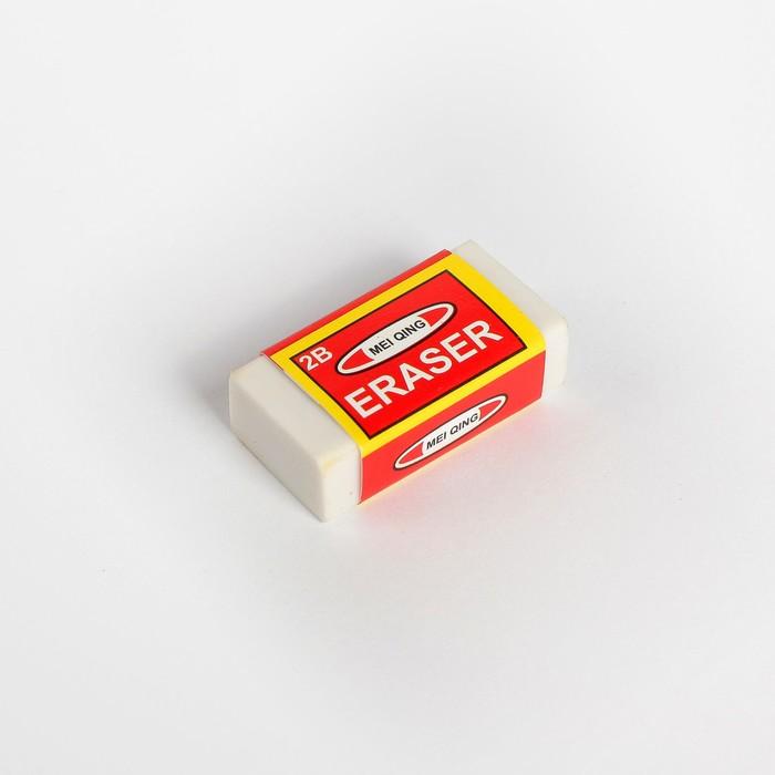 Ластик прямоугольный 2В белый в бумажном держателе