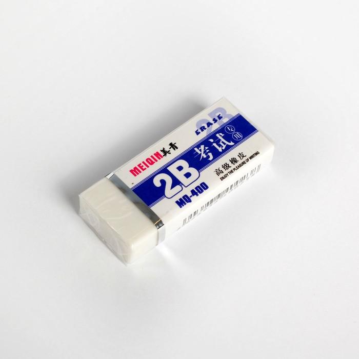 Ластик прямоугольный 2В белый средний в бумажном держателе