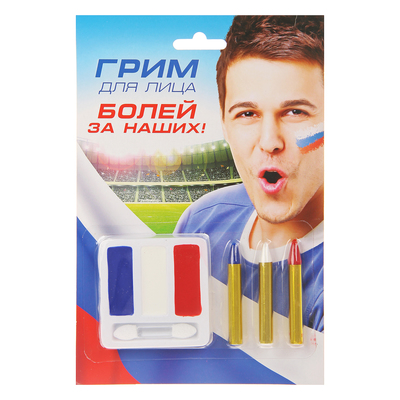 Грим для лица «Цвета флага России», 3 цвета по 0,5 г и 3 карандаша по 0,5 г