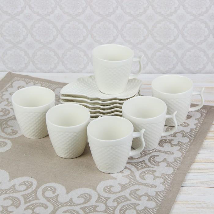 """Сервиз чайный """"Эталон"""", 12 предметов: 6 чашек, 6 блюдец"""