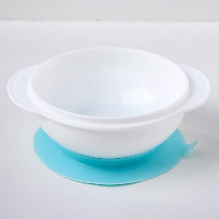 Набор для кормления, 3 предмета: миска на присоске 400 мл, крышка, ложка, цвет голубой