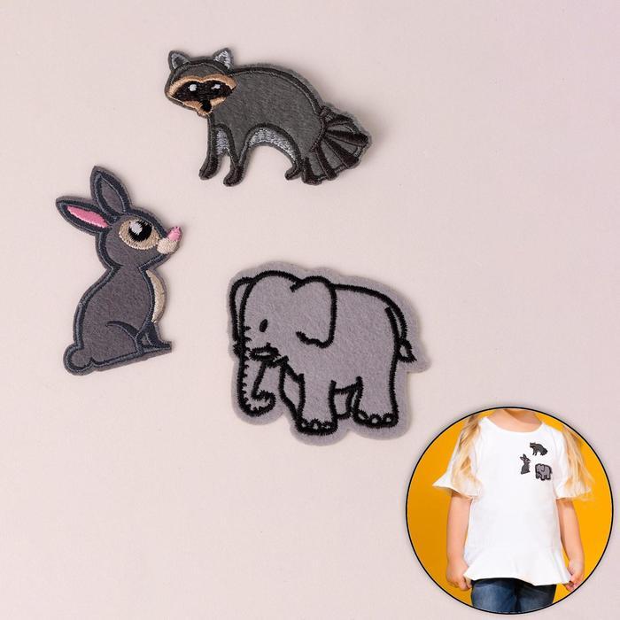 """Набор термоаппликаций """"Енот, слон, заяц"""", 3шт, разноцветный"""