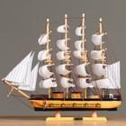 Корабль сувенирный большой - борта светлое дерево, синяя полоса, якорь, три мачты, белые паруса с полосой