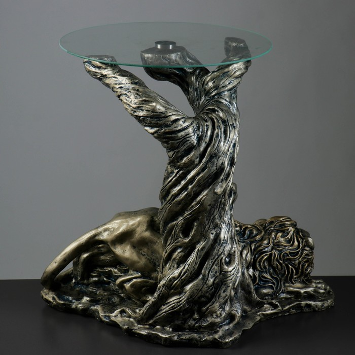 "Стол ""Лев под деревом"" 45х70х65см серебро"