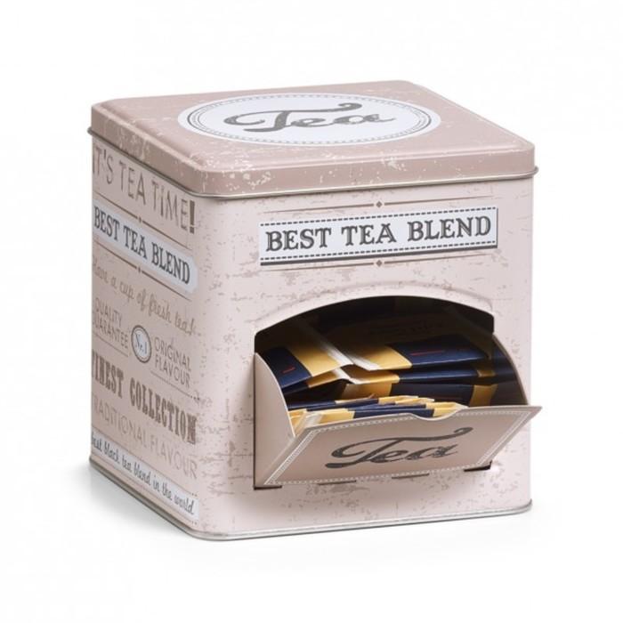 Коробка для чая 13х13х13,6 см., металл, 19160