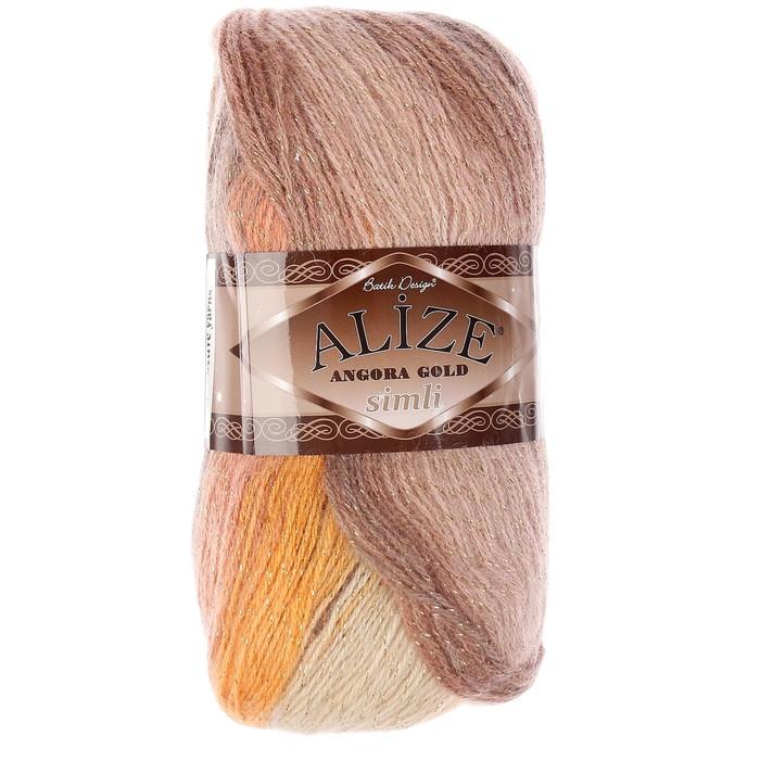 """Пряжа """"Angora gold simli batik"""" 20% шерсть, 75% акрил, 5% металлик   500м/100гр (4741)"""