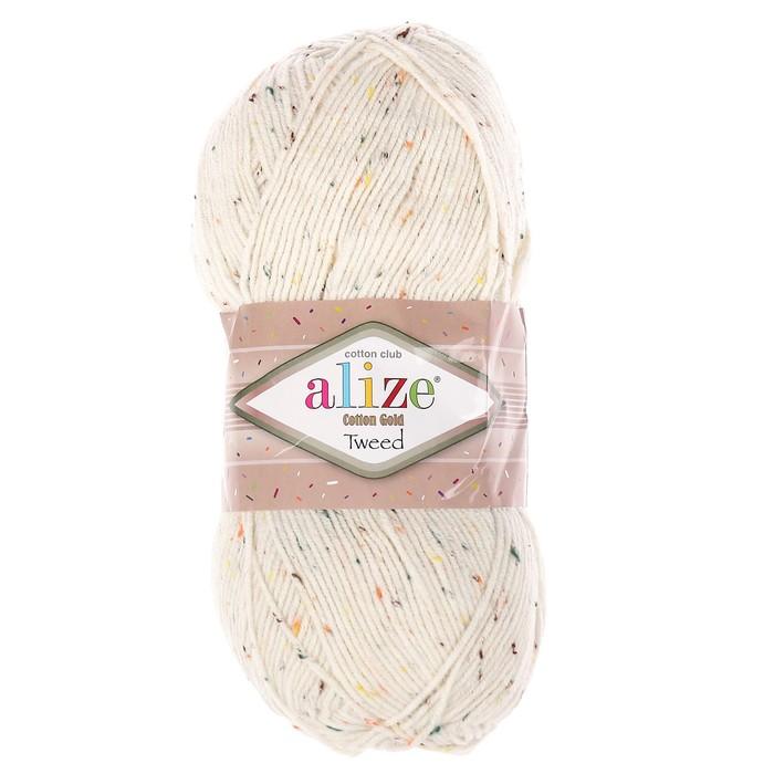 """Пряжа """"Cotton Gold Tweed"""" 57% хлопок, 40% акрил, 3% полиэстер 330м/100гр (62 молочный)"""
