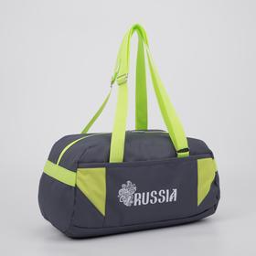 Сумка спортивная, отдел на молнии, наружный карман, цвет серый/зелёный